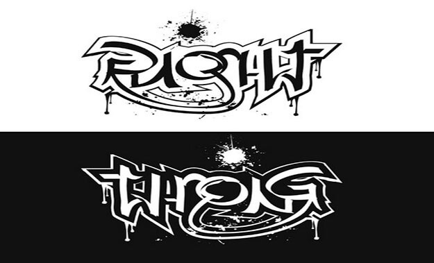 right wrong Ambigram generator and Example